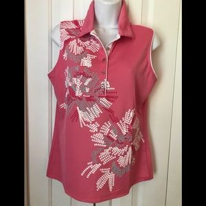 Izod Women's Golf Shirt Sleeveless Pink White Gray